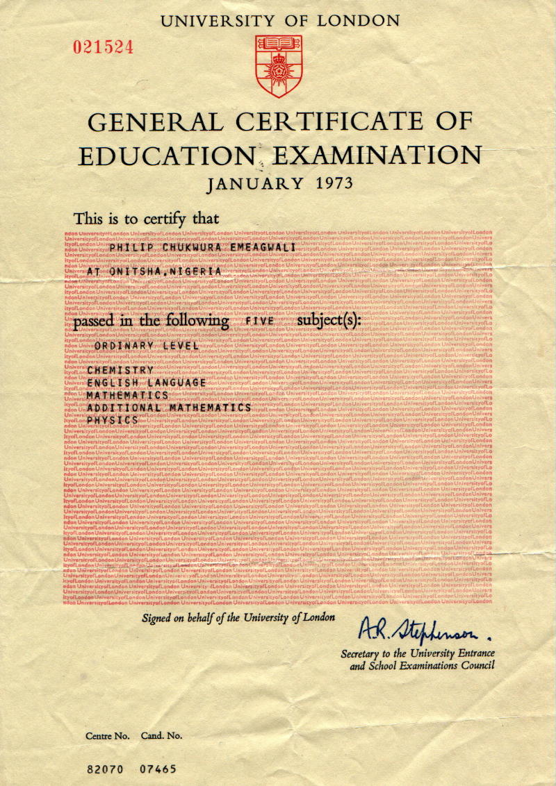 educational certificates