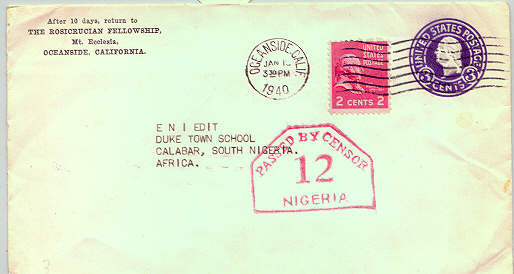 rosicrucian amorc letter to calabar nigeria with censorship stamp1940 W60JlEsq